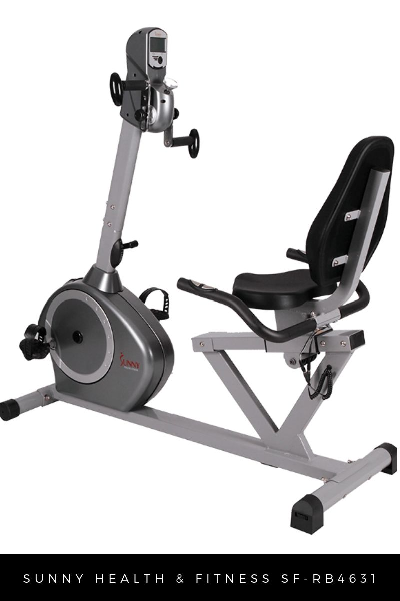 Sunny Health & Fitness recumbent exercise bike with moving arms